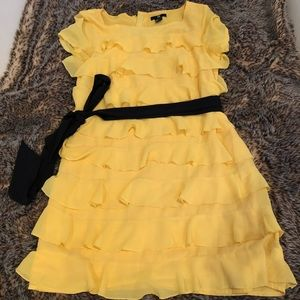 H&M yellow ruffle dress